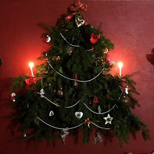 Cerri's made a Yule tree made from fallen evergreen foliage…